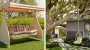 Вуличні гойдалки, це відпочинок і прикраса дизайну двору: 25 красивих прикладів